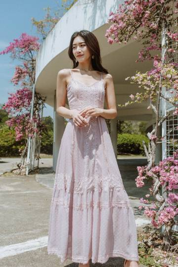 Chiara Lace Maxi Dress (Blush)