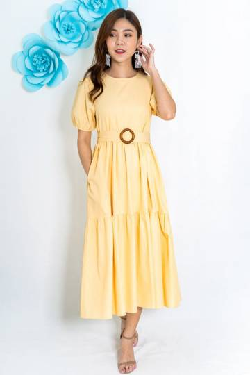 Georgian Wooden Bucket Midi Dress In Pastel Yellow