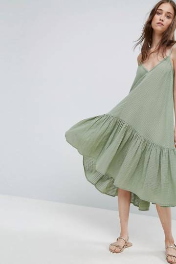 ASOS Trapeze Sundress in Textured Grid Fabric
