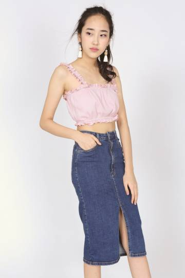 Ribbed Ruffled Crop Top in Pink