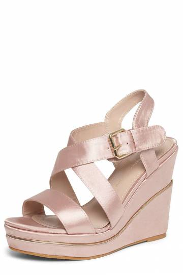 Pink 'Rozzy' Wide Fit Wedge Sandals