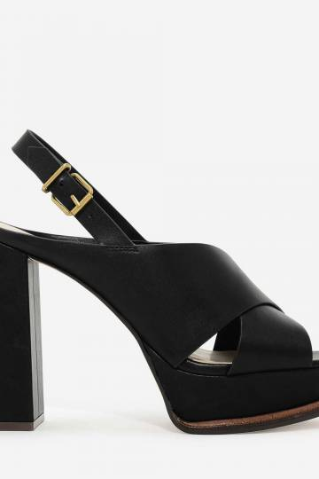 CROSS-STRAP PLATFORM SLINGBACKS
