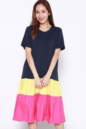 Backorders Yuqi Colourblock Dress in Blue Yellow Pink