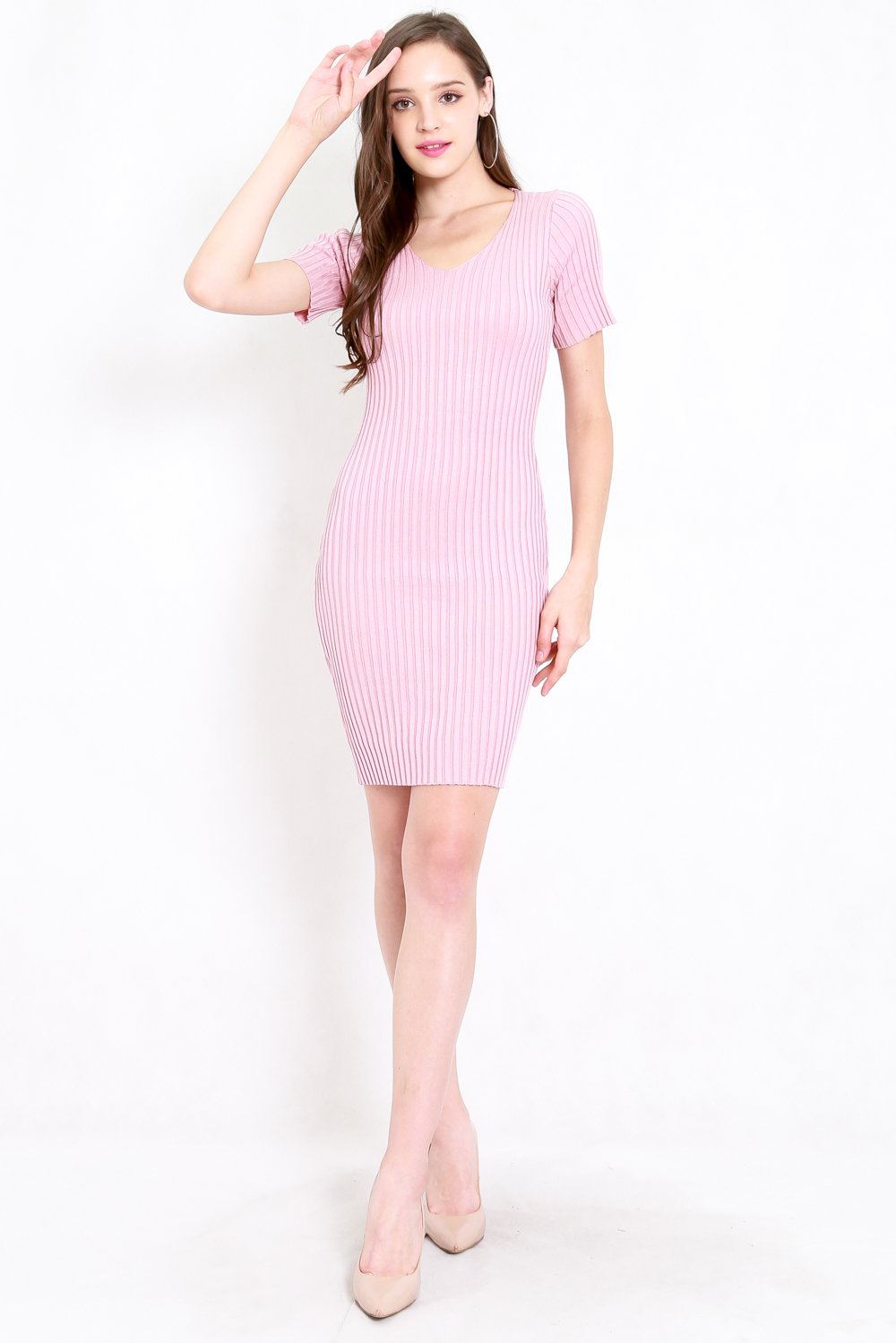 Basic V Neck Knit Dress (Pink)