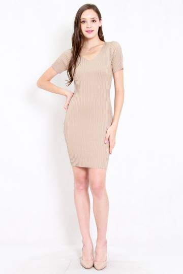 Basic V Neck Knit Dress (Nude)