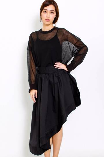 Asymmetrical Wrap Skirt - Black