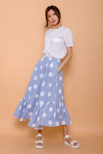 Ruffle Maxi Skirt - Stripes/Polka Dot