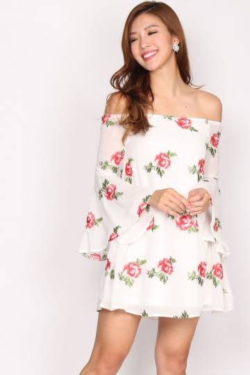 effa00221c953 Olivia Embroidery Floral Off Shoulder Dress In White