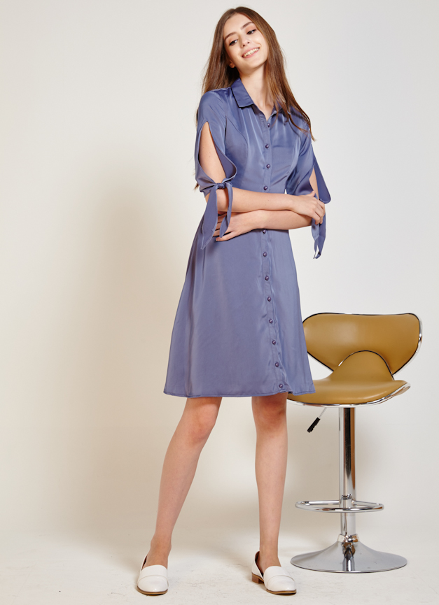 Collette Tie Shirt Dress, By Lovengold in Ash Blue