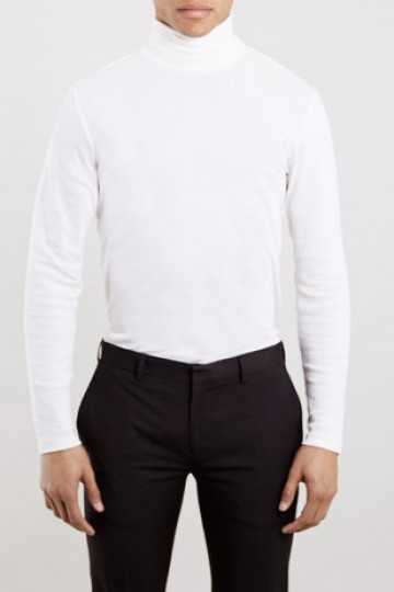OFF WHITE JERSEY ROLL NECK JUMPER - New In- TopMan Singapore