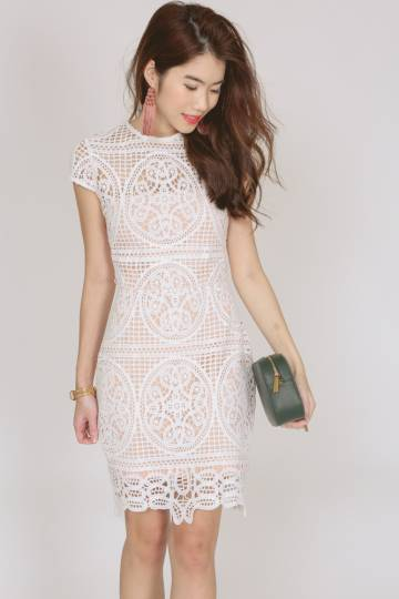 Embroidered Lace Midi Dress in White