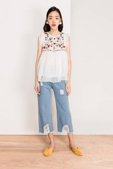 NICHOLE EMBROIDERY BLOUSE - WHITE [QUEENDOM]