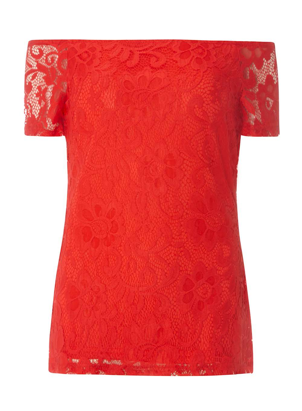 85456bf11f4 **Tall Red Lace Bardot Top. From Dorothy Perkins