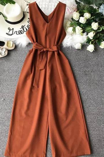 (Pre-Order) High Waist Wide Leg Sleeveless V Neck Culottes Jumpsuit in Coffee