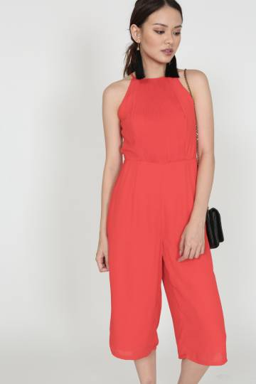 Pleated Cropped Jumpsuit in Red - Arriving Soon (2225606RED)