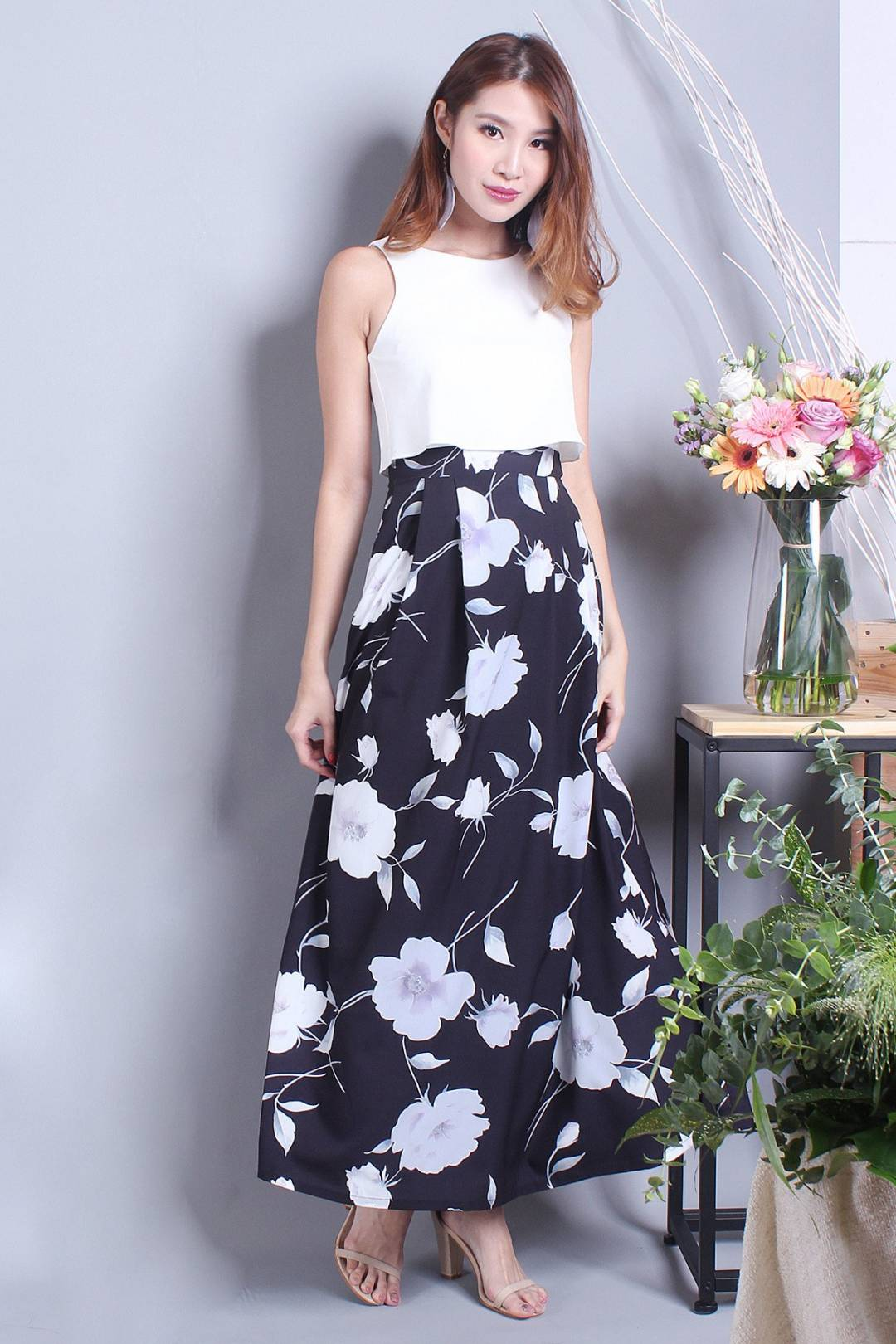 NM MAEVA CROP MAXI DRESS IN WATERFLORA BLACK [XS/S/M/L]