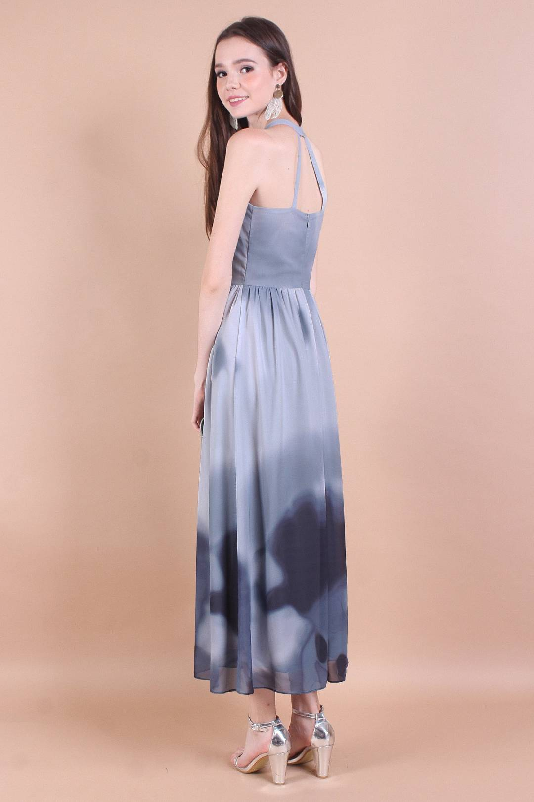 NM ESCAPADE COLOURS EXQUISITE BACK DETAILING MAXI DRESS IN GREYSCALE [XS/S/M/L]