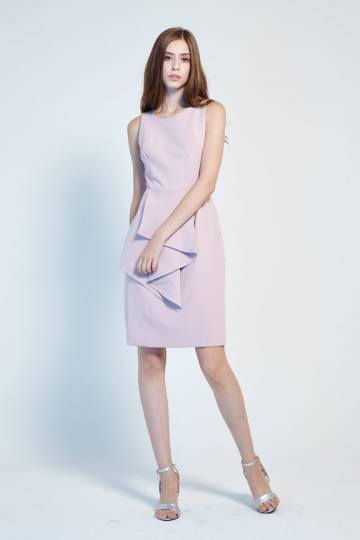 Viera Peplum Dress in Blush, By Lovengold
