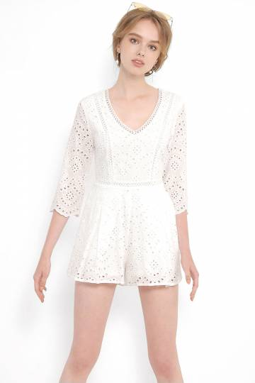 Cressida Eyelet Playsuit - White