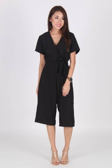 Wrap Front Sleeve Culottes Jumpsuit in Black