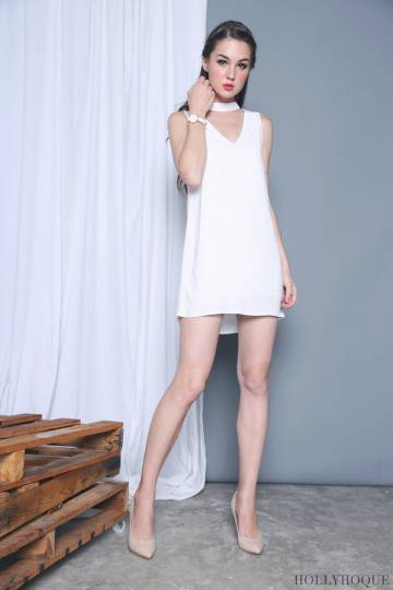 Edelweiss Collar Dress White
