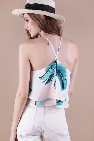 Anya V Neck Top (White Palm Print)