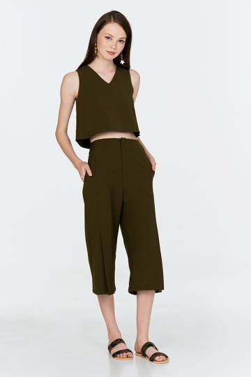 Zoey Slit Front Culottes in Olive