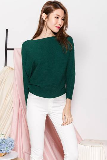 Starla Boatneck Batwing Knit Top (Forest Green)