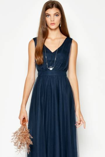 GITHA TULLE MAXI DRESS NAVY