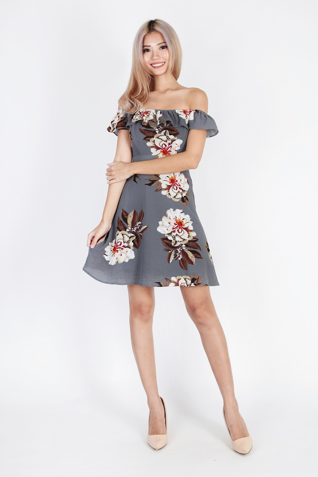 50ff2f21334a Beau Rose Off Shoulder Dress in Grey. From MGP Label