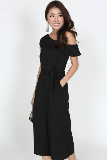 Self-Tie Toga Romper in Black