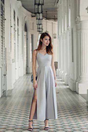 4cc7d81f4cb Classified Chic Slit Jumpsuit (Lavender Grey)