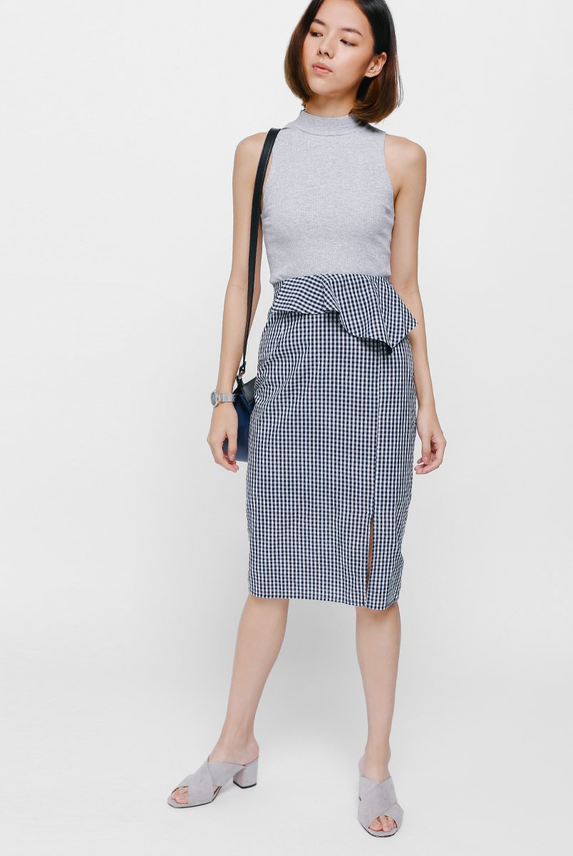 26e1415843 Sarye Peplum Gingham Pencil Skirt. From Love, Bonito