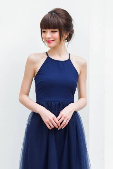 Restocked* Midsummer's Night Tulle Dress In Navy