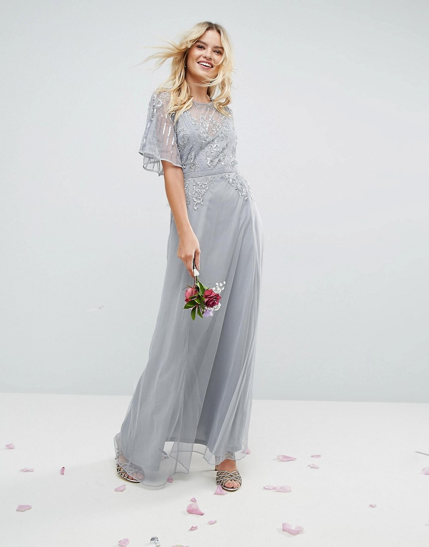 feb8bc29df1 ASOS WEDDING Embellished Lace Insert Flutter Sleeve Maxi Dress. From ASOS