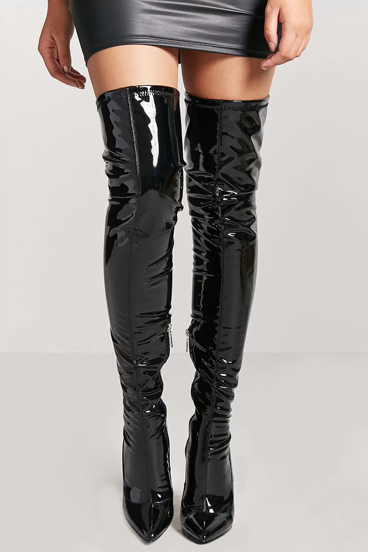 Faux patent leather thigh high boots shopperboard for Thigh jewelry forever 21