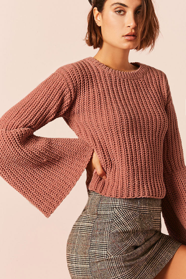Chunky Ribbed Knit Trumpet-Sleeve Sweater - ShopperBoard