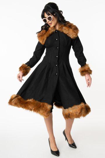 Collectif Vintage Black Wool & Fur Pearl Coat