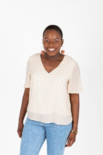 The Legend Dot Blouse in Cream