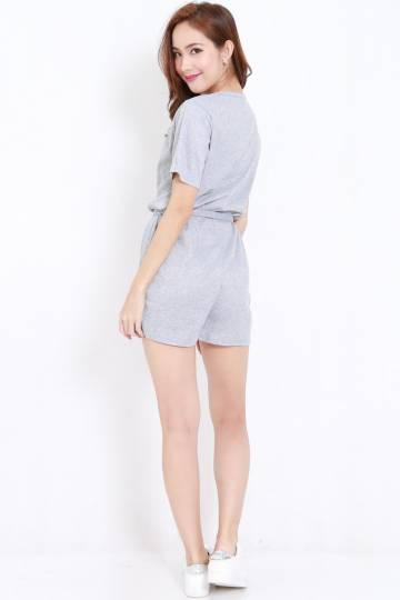 Buttons Ribbed Tie Romper (Grey)