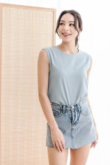 Blanche Belted Top (Steel Blue)