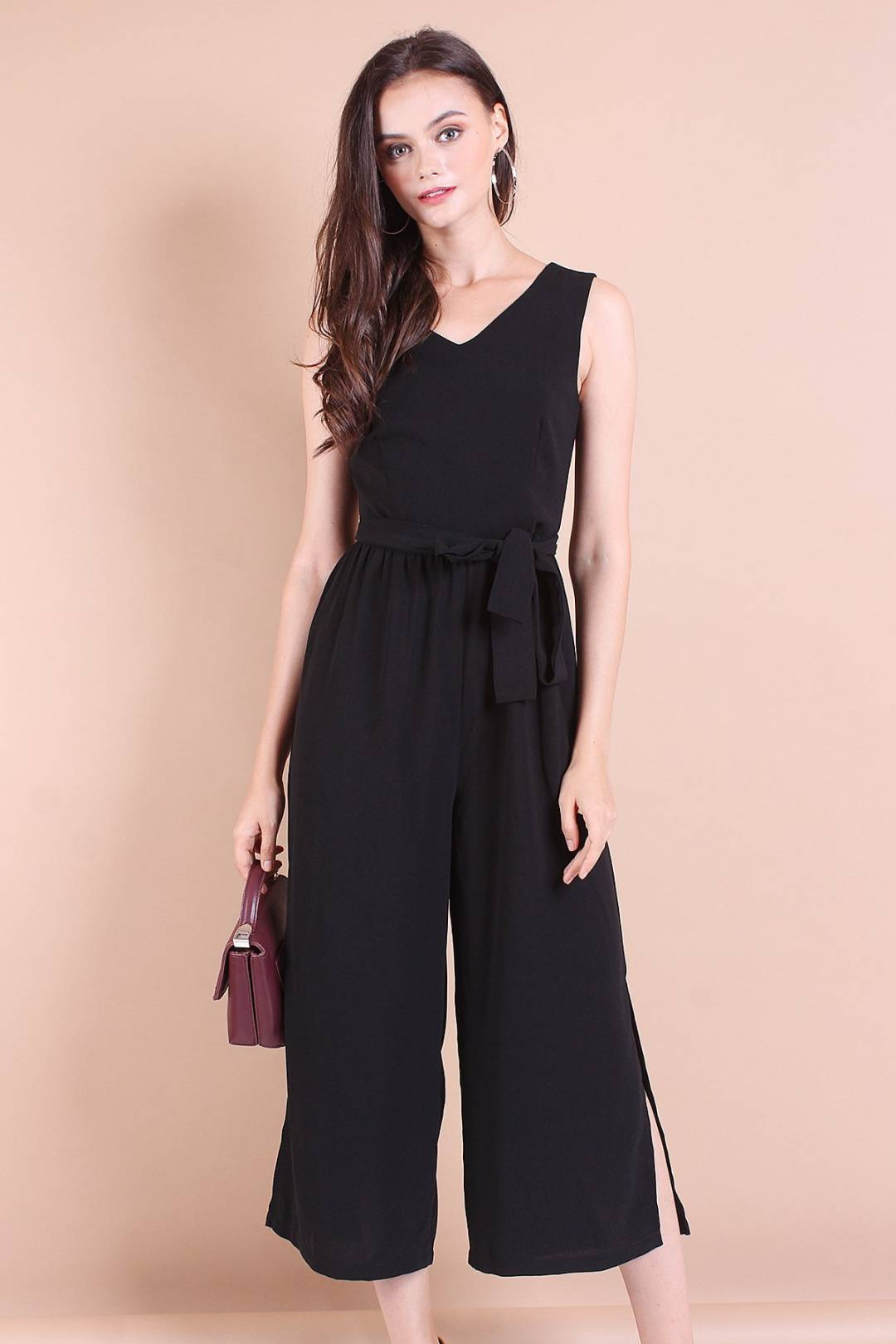 NESSA SLIT SIDE PALAZZO PLAYSUIT IN BLACK [S/M/L]