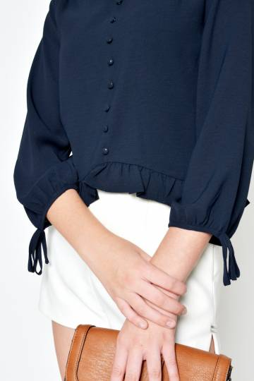 KALI RUFFLE TOP NAVY