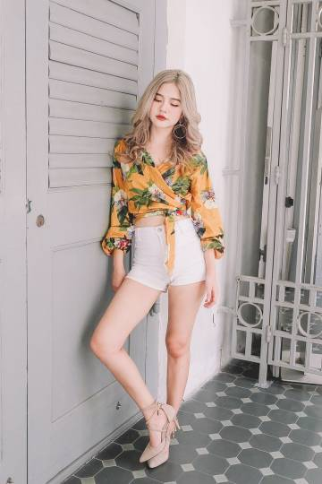 [Restocked] Floral Wrap Crop Top in Yellow