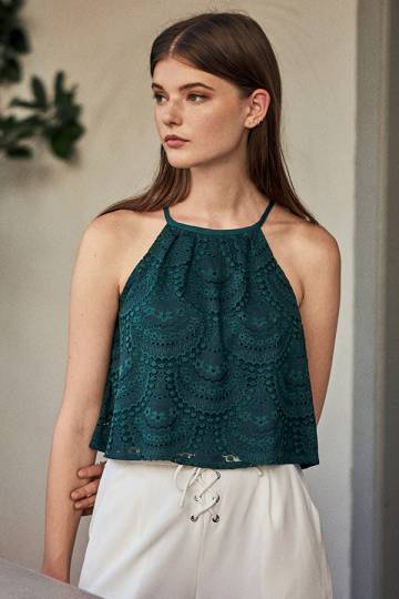 Genevia Lace Top in Forest