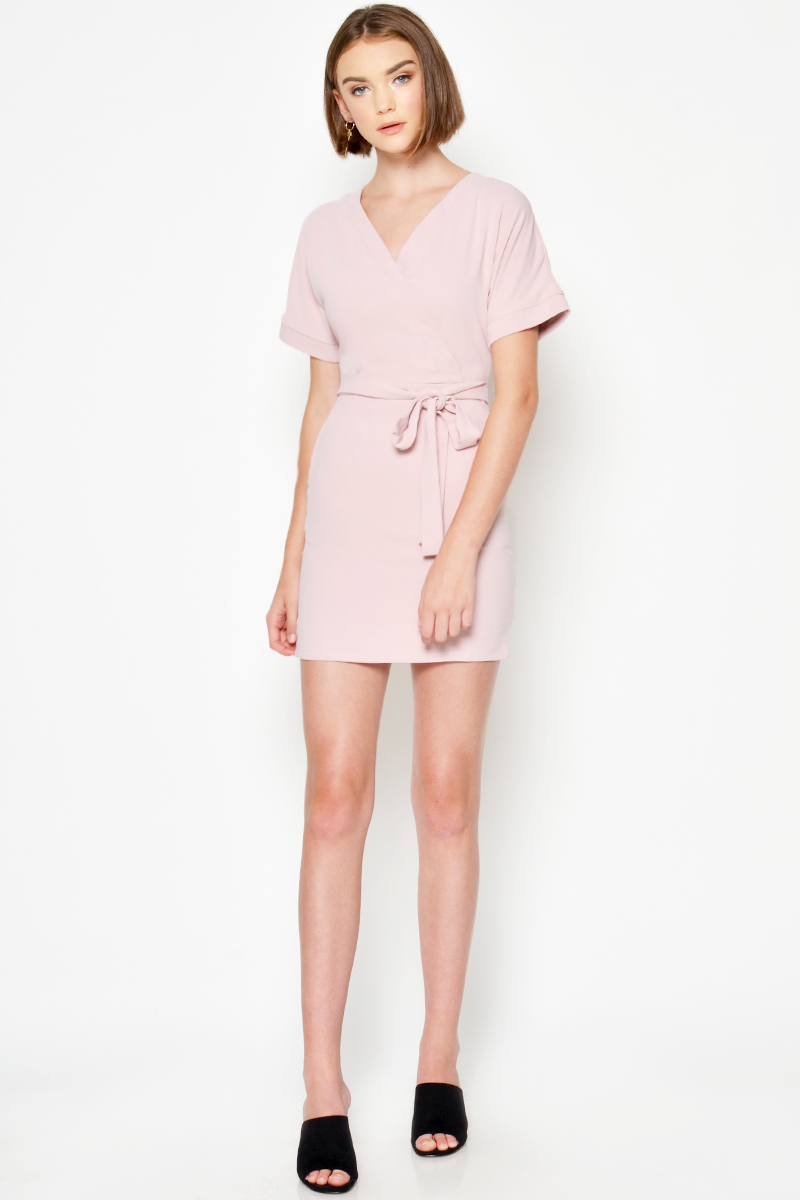 AUSTIN BELTED WRAP DRESS PINK