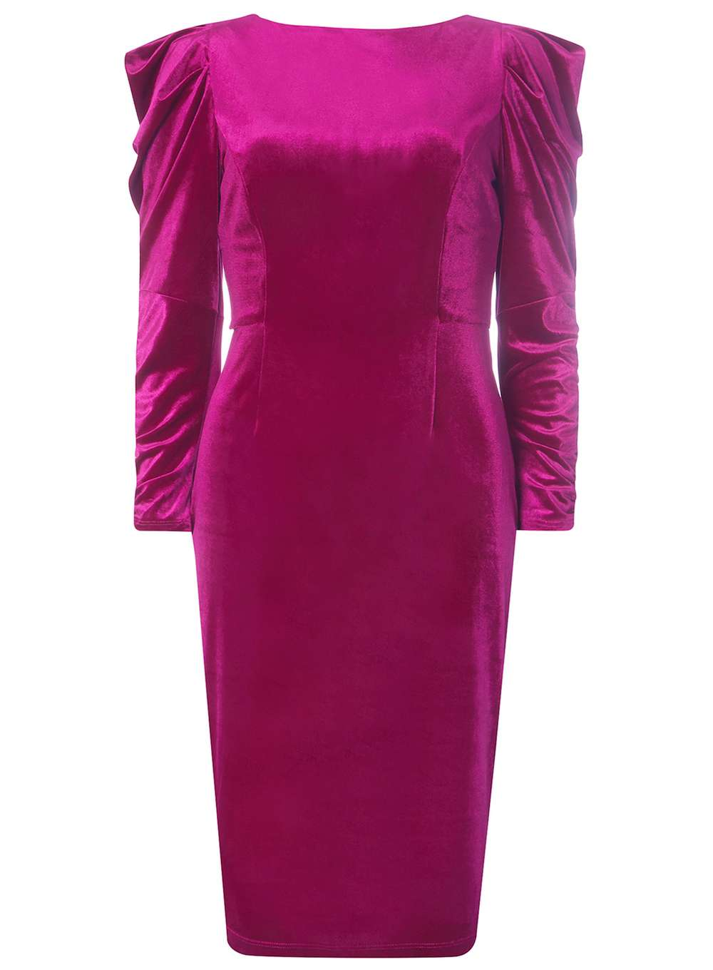 2d1e6345fa3 Pink Velvet Ruched Sleeve Bodycon Dress. From Dorothy Perkins