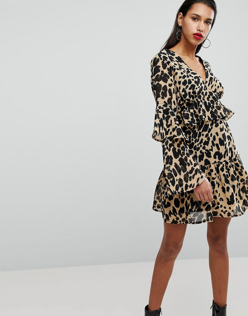52811a5f63 Neon Rose Smock Dress With Frill Sleeves In Leopard - ShopperBoard