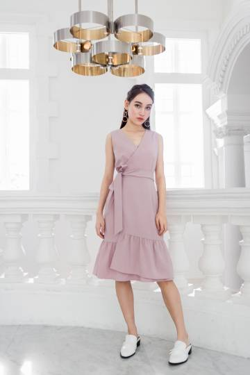 SHEILA RUFFLE DRESS (MAUVE PINK)