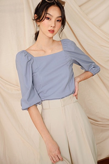 *BACKORDER* ISSA LINEN TOP IN PERIWINKLE